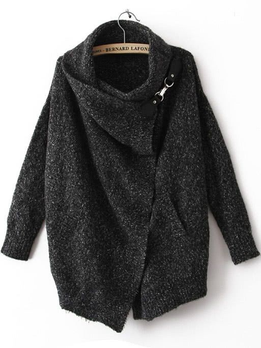 Shop Black Lapel Long Sleeve Ouch Cardigan Sweater online. SheIn offers Black Lapel Long Sleeve Slouch Cardigan Sweater from SheIn {AD - this is an affiliate link}