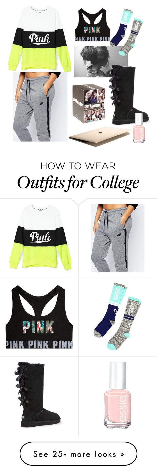 """""""Cozy"""" by littlewond3rland on Polyvore featuring NIKE, Grey's Anatomy, UGG Australia and Essie"""