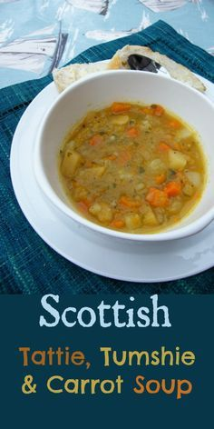 A comforting bowl of hot Tattie, Tumshie and Carrot Soup. Nothing better on a cold day.  Do you know what a tumshie is?  #soup #autumn #scottishrecipes