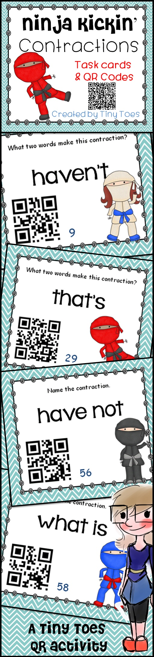 Re-pin me! Get your kids engaged with Ninja Kickin' Contractions! Love QR? I do and I know my kids do too! Get your students active, motivated, and involved with these QR code task cards. So much fun to play especially with the integration of iPods. QR's are great! Simply read the question, decide on your answer, and scan the QR to see if you got it right. Don't have an iPod? No problem! Just use them as task cards! $3