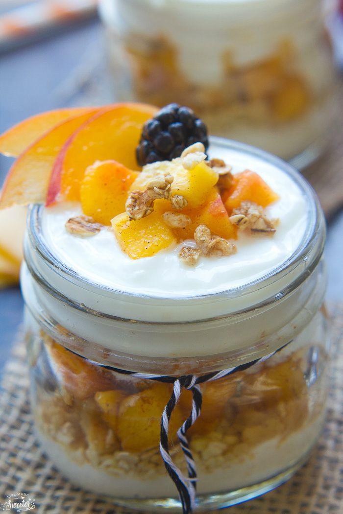 Peach Yogurt Parfaits ~ layered with fresh, juicy peaches, honey-sweetened Greek yogurt, and granola for a healthy summer breakfast or snack! | LifeMadeSweeter.com for FiveHeartHome.com