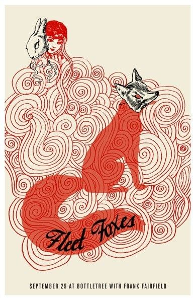 Fleet Foxes ~ I love how intertwined and layered everything is. Also love the humor in having the fox wear a fox mask (since foxes in many cultures are seen as tricksters that imitate others... to have the fox playing at being a fox, witty)