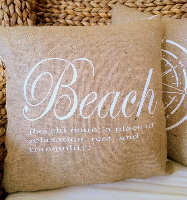 beach pillows decor | Beach Definition Burlap 18x18 Decorative Pillow Cover, Throw Pillow ...