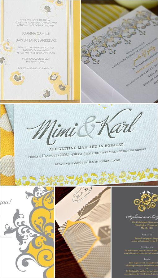 yellow and gray wedding invitations: Idea, Gray Wedding, Grey Wedding, Yellow Wedding, Color Combos, Wedding Invitations, Wedding Cakes, Mustard Yellow, Wedding Color Grey And Yellow