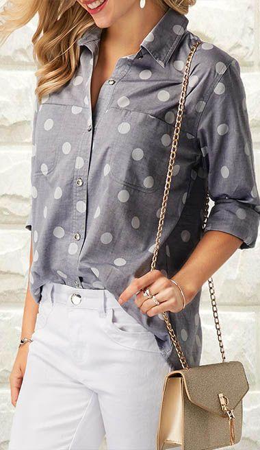 Polka Dot Print Grey Turndown Collar Shirt.