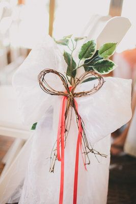 Coral, Mint, Rustic Garden Wedding - Ceremony,  Decorations,  Aisle