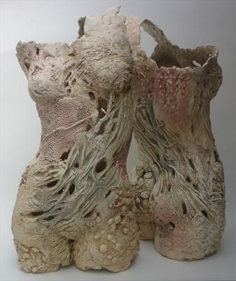 Pauline Lee - Stoneware clay textured with plant material and moulded into hollow forms.    50cm x 25cm