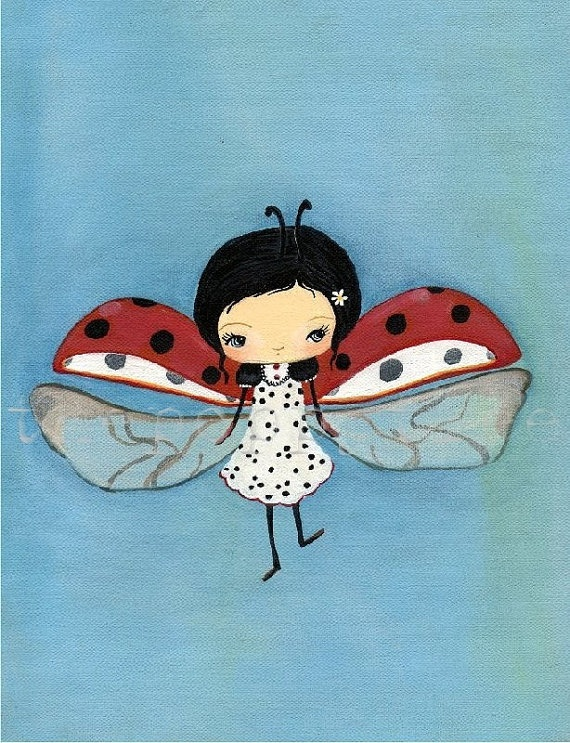 Ladybug PrintDancing Dots 5 x 7 by thepoppytree on Etsy, $12.00