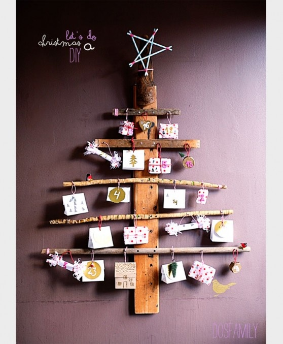 unique wall christmas trees, could be fun for hanging cards.