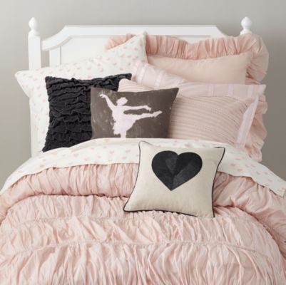 If you're looking for a throw pillow that coordinates with our I Heart Bedding and Antique Chic Duvet, this one's definitely en pointe. Details, details Nod exclusive Printed ImportedShow 'em what you're made of Cover: 100% cotton Insert: Shell is 100% cotton; Fill is 90% polyester, 10% lyocellCare instructions Dry clean onlyExtras! Extras! Coordinates with our I Heart Bedding and Antique Chic Duvet Cover.