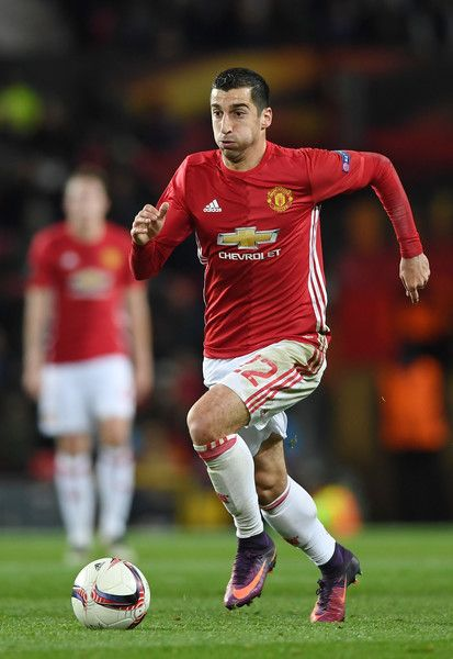 Henrikh Mkhitaryan of Manchester United in action during the UEFA Europa League Group A match between Manchester United FC and Feyenoord at Old Trafford on November 24, 2016 in Manchester, England.