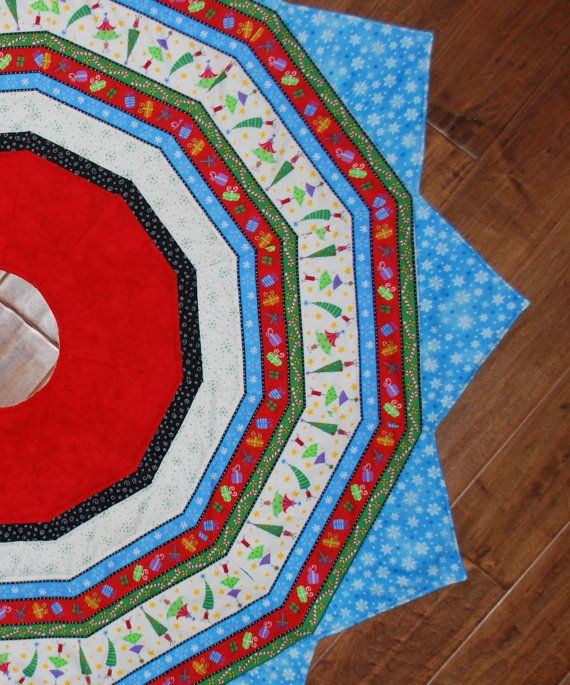 Large Quilted Christmas Tree Skirt 12 Pointed Star By MonkeyMuffin