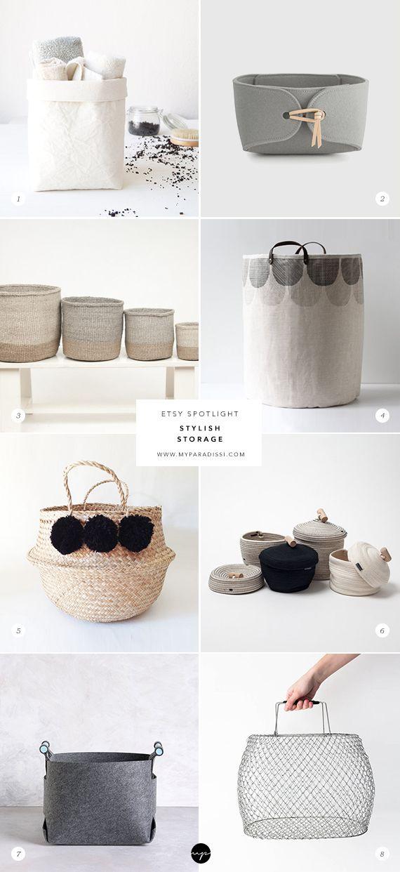Stylish storage baskets and hampers on Etsy