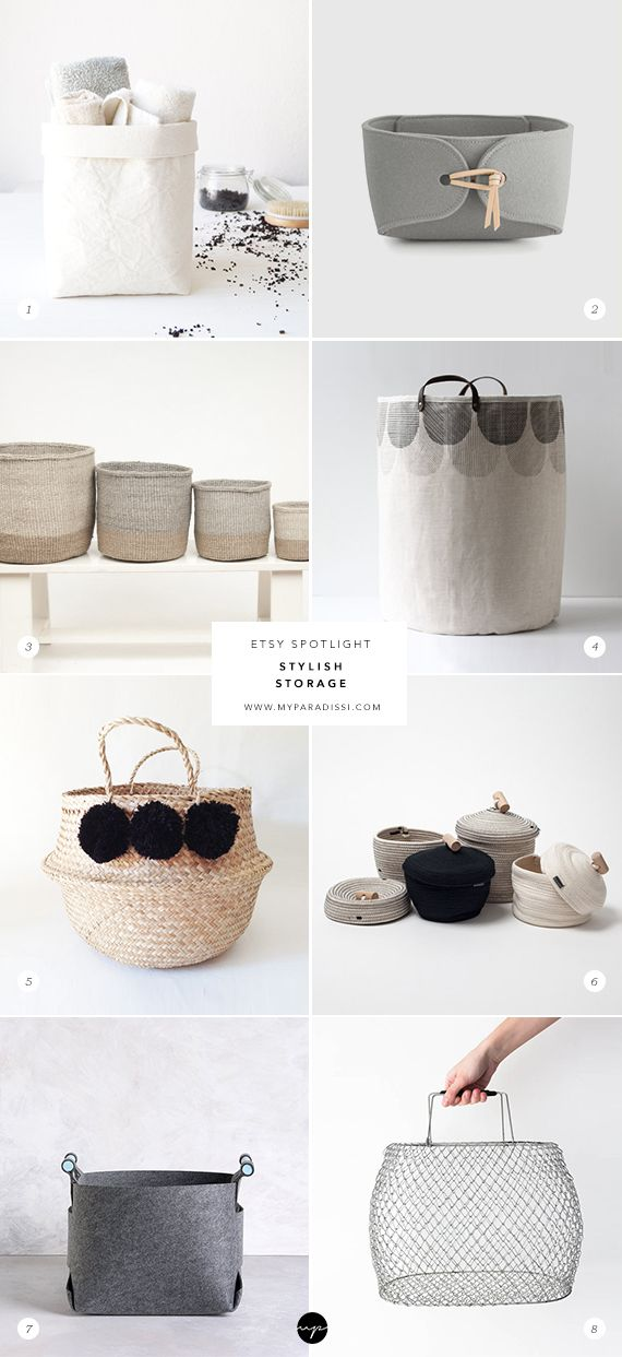 Stylish storage baskets and hampers on Etsy