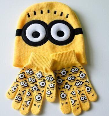 Unisex Minions Hat   Glove Set