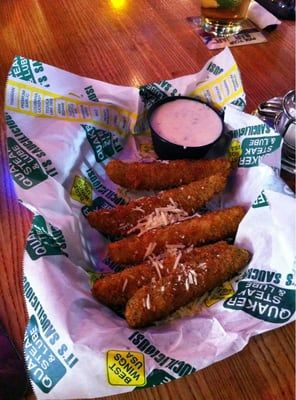 FRIED PICKLES  Quaker Steak n Lube Copycat Recipe   1/3 cup milk  1 egg  1 tablespoon dill pickle juice  1 cup cornmeal  1/2 cup all pur...