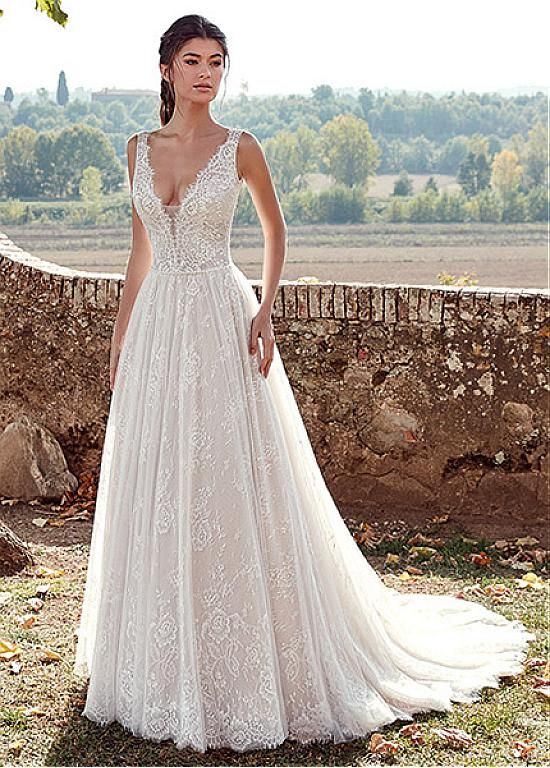 Magbridal Alluring Tulle & Lace V-neck Neckline A-line Wedding Dresses With Beadings
