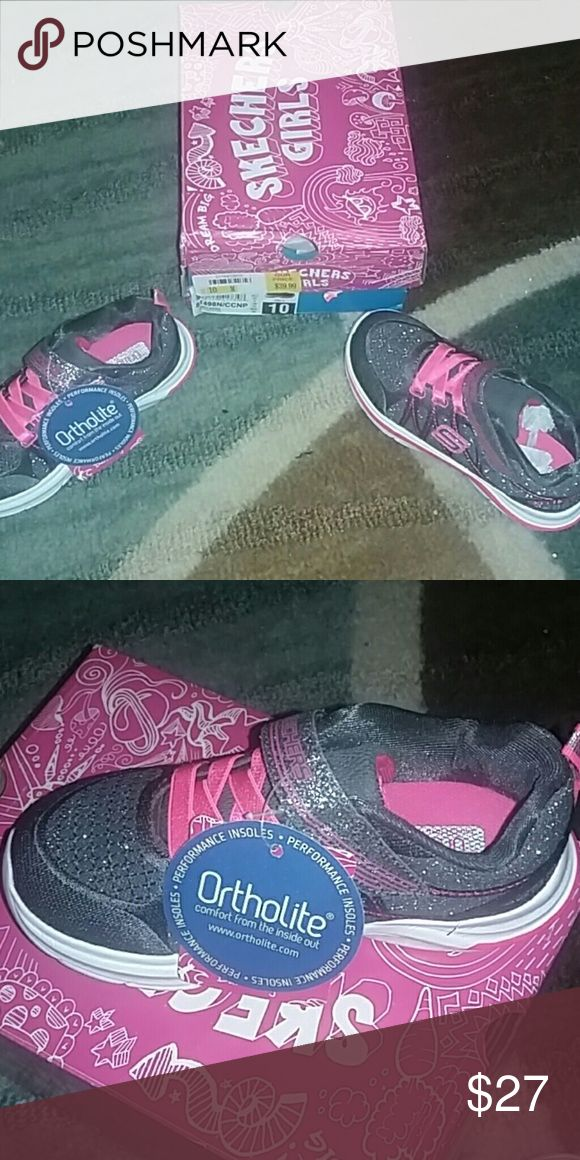 NWT -Girls Skechers Size 10 Brand new never even tried on size 10 and little girls pink and silver they have a velcro strap making it easy for toddlers to put on themselves. They still have the tags on them and are in the original box. Skechers Shoes