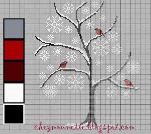Tree Filled With Robins · Cross-Stitch | CraftGossip.com