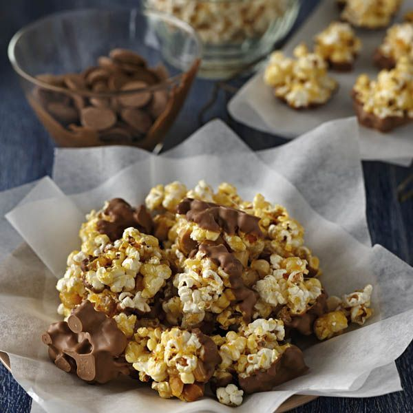 Chocolate Dipped Salted Caramel Popcorn Clusters #Recipe #CadburyKitchen A better pic is at http://porkrecipe.org/posts/Chocolate-Dipped-Salted-Caramel-Popcorn-Clusters-38788