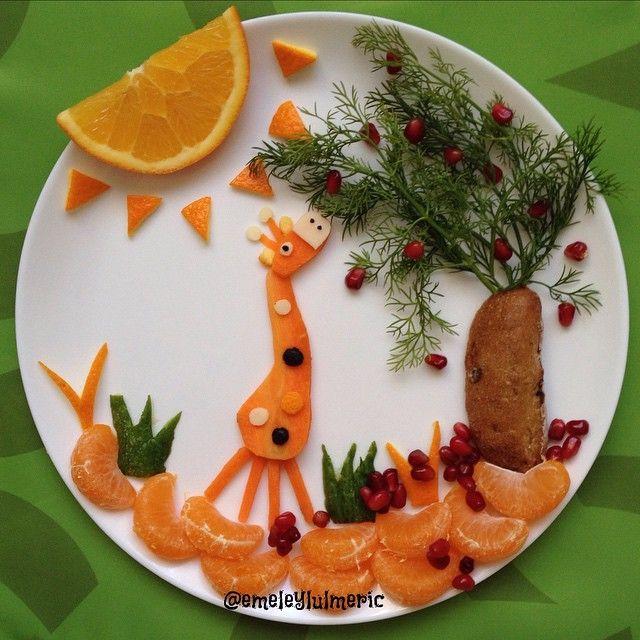 Giraffe food art by Anneysen;Butun Evlatlar Senin (@sunumannesi)