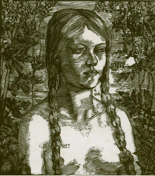 #Geoffrey #Hamilton #Rhoades Portrait of a young girl circa 1940  #Woodcut #art #modern #portrait #Britishart #LLFA