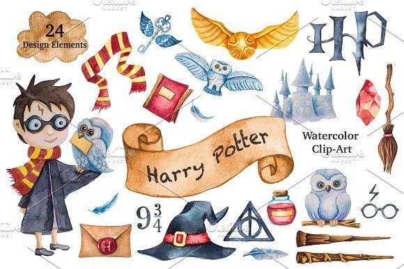 Harry Potter Watercolor Clip Art By Elena Schweitzer On Creativemarket Aquarell Clipart Aquarell Ideen