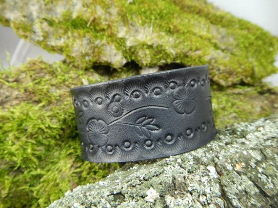 Genuine leather black bracelet Flowers, leather bracelet, mens bracelet, bracelet for women, black leather bracelet, leather cuff