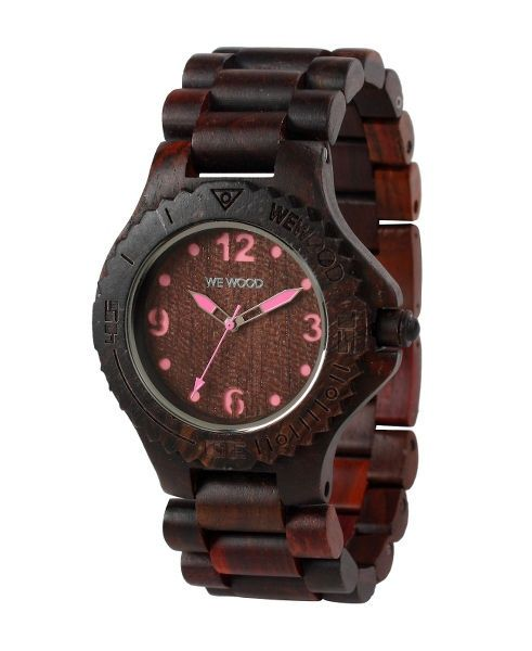 WeWood watch DATE KALE choco/pink