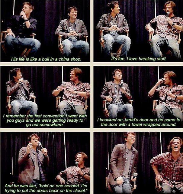 """""""Jensen and Misha on Jared's tendency to break things"""" Oh lord, if him at Matt Smith met, we would be doomed..."""