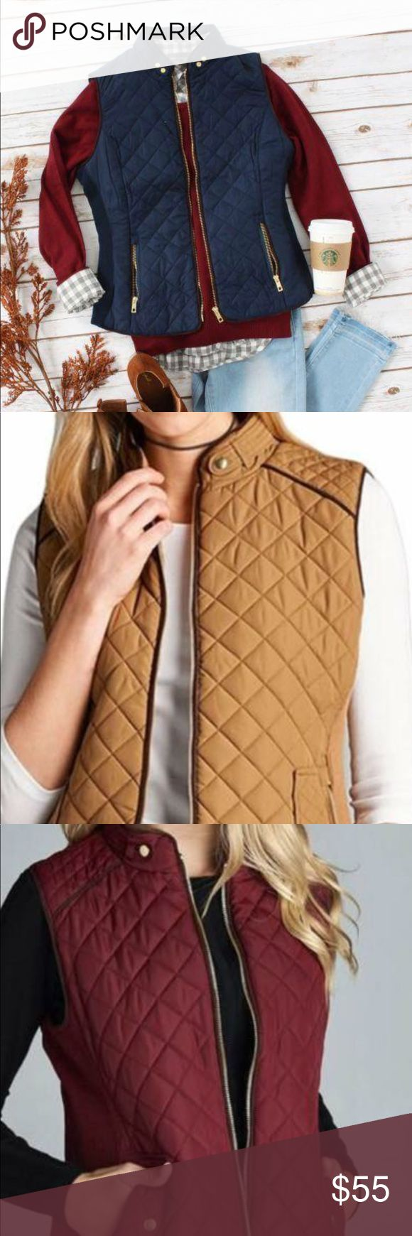 Quilted Puffer Padded Vest essentials! Quilted Puffer Padded Vest. These padded vest are essentials!! They feature suede piping detail and come in 3 amazing colors-navy, burgundy & camel! You'll love it so much you'll want one of each. The outfit options are limitless!  fit: true to size fabric: 100% poly Jackets & Coats Vests