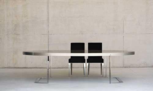 Comedores de diseno - Mesa Comedor Oval, BALTUS - Mesa de Comedor Oval, con tapa en DM lacado brillo  y pies en acero brillo, de medida 280 x 140 x 73h