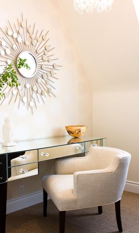 Designer Look: Clear Modern Desk And A Starburst Mirror Http://www. Design Ideas