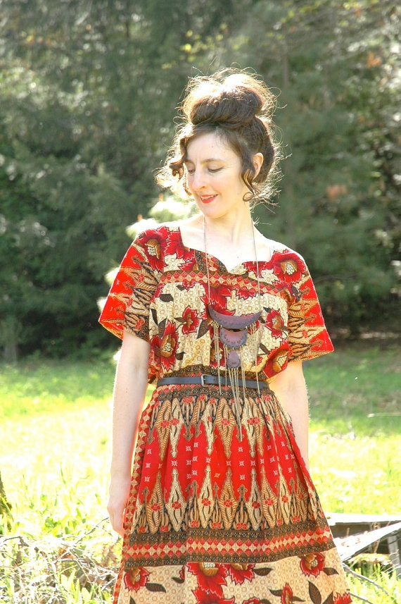 Batik Dress Ethnic Cotton Dress Warm Colors by AstralBoutique