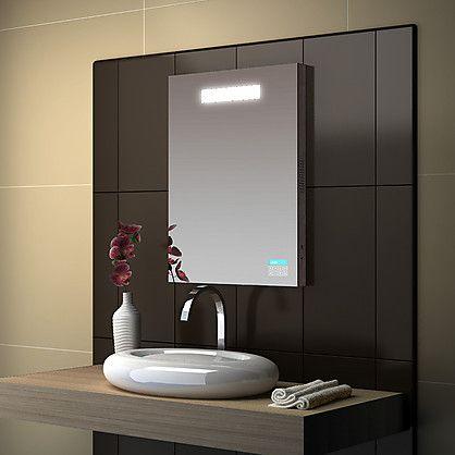 Specchio da Bagno Hamal con Radio e Luce Neon Integrata cm 60x80