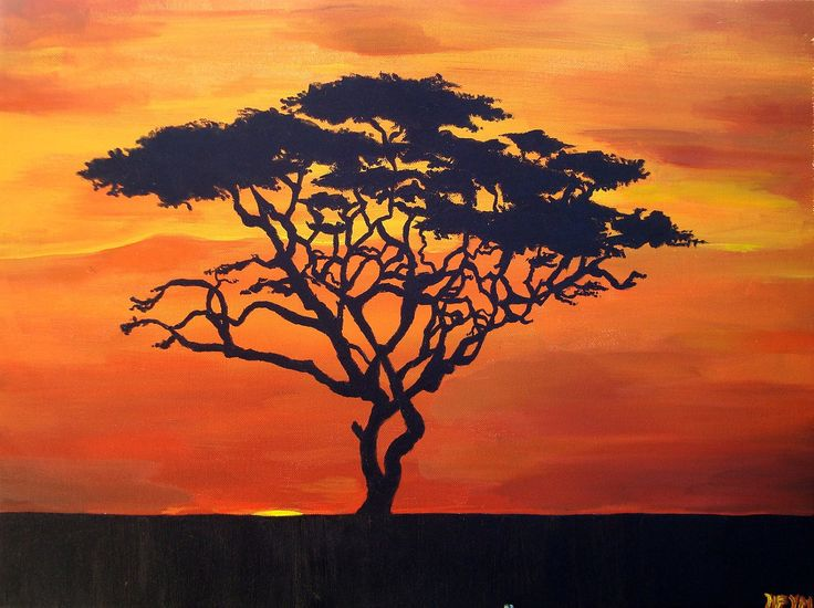 Acacia Tree Silhouette - African Sunset Landscape Painting - 18 x 24. $85.00, via Etsy.