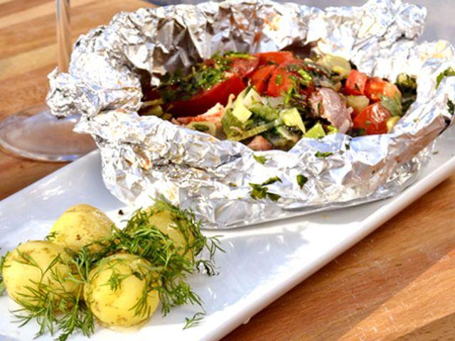 Cataplana, grillad fisk i foliepaket (kock Ernst Kirchsteiger)