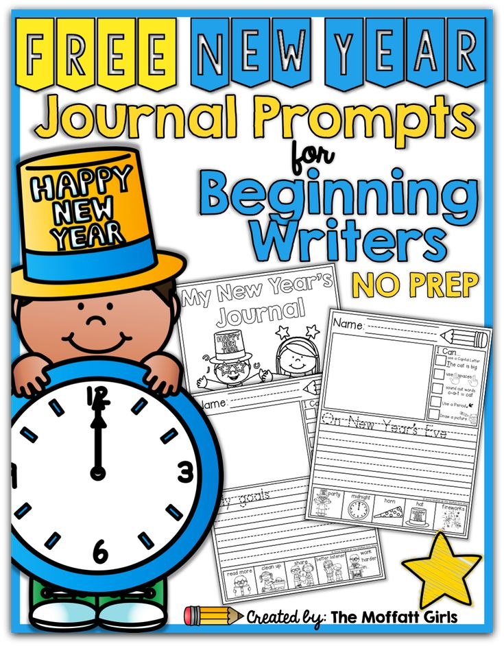 FREE…FREE….FREE New Year Journal Prompts for Beginning and/or Struggling Writers!