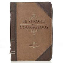 Bible Cover Classic Medium: Strong and Courageous Beige/Brown