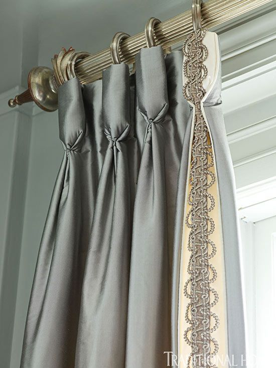 Goblet pleat silk panels with trim