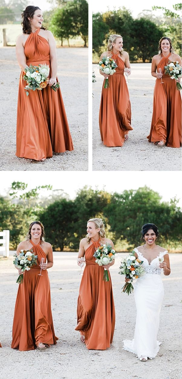 38cff7261dd2 A-Line Halter Backless Floor-Length Orange Convertible Bridesmaid Dress in  2019 | Long Bridesmaid Dresses | Bridesmaid dresses, Dresses, Prom dresses