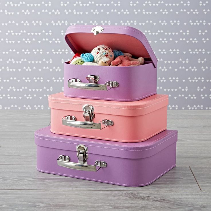 Bon Voyage Pink and Purple Suitcase Set | The Land of Nod