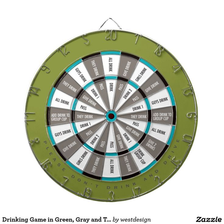 Drinking Game in Green, Gray and Teal blue Dartboard