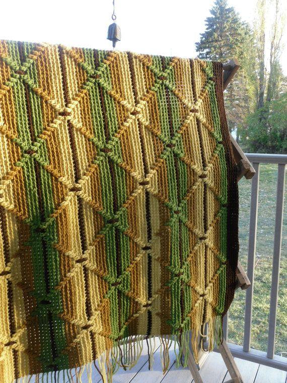 Vintage Afghan 1970s Vintage blanket Crocheted