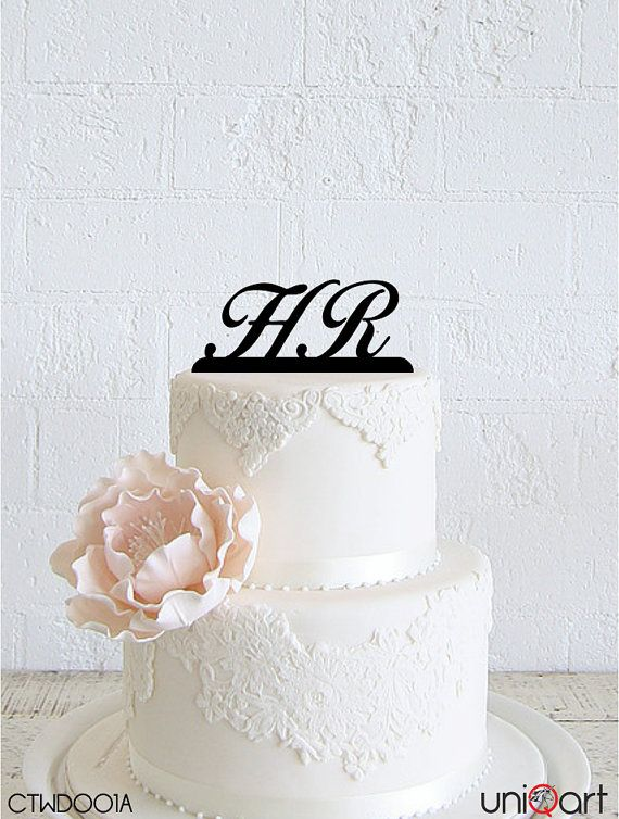 Mr & Mrs Personalized Wedding Cake Topper, Customizable Letters, Removable Stakes, Free Base for After Event, Gift, Keepsake CTWD001A