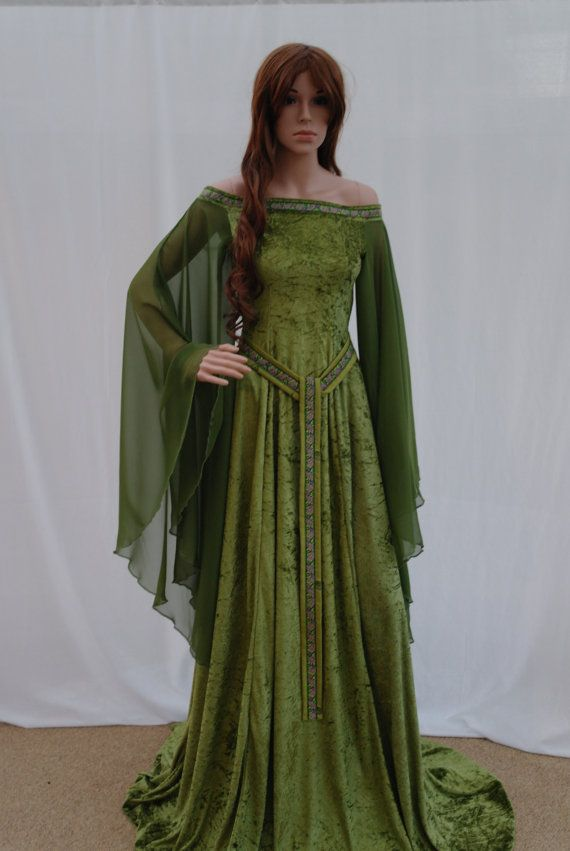 Elven dress Celtic wedding dress medieval dress by camelotcostumes                                                                                                                                                                                 Mais
