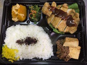平成27年3月30日(月)ランチメニュー:ポーク竜田カレー風味/肉豆腐/かぼちゃそぼろ煮/ほうれん草お浸し