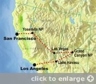 Did this trip in 2008. Highlights were hiking Yosemite Falls and the Grand Canyon...and driving around Vegas in a stretch limo!