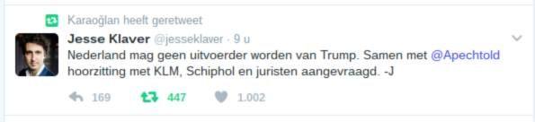 Klaver en Pechtold roepen KLM op matje  Klaver vindt dat KLM te snel orders Trump uitvoert. Hoorzitting met juristen erbij. Zet druk op PVV en VVD. Maak duidelijk dat we in Nederland de fascisten met stropdassen nog buiten de deur kunnen houden.