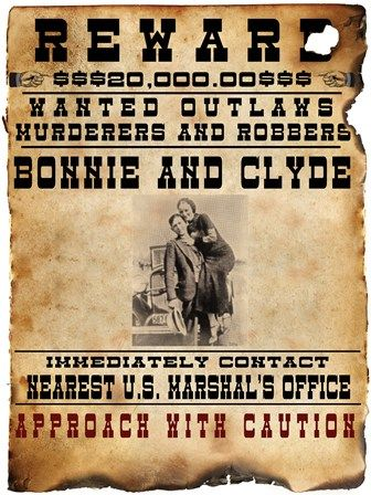 Bonnie and Clyde Wanted Poster art print